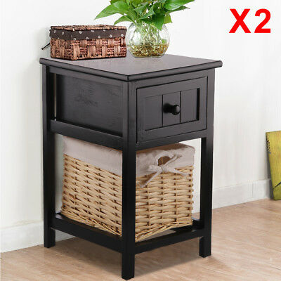 2x Black Shabby Chic Tall Bedside Unit Tables Drawers Cabinet + Wicker Storage