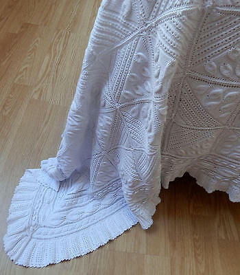 Vintage French Bed Coverlet Hand Knit with Raised Leaf Pattern