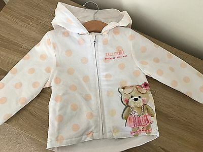 Baby Girl Reversible White Hooded Jacket Raincoat 12-18 Months BNWOT