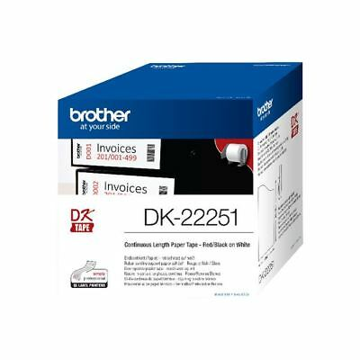 Brother Paper Labelling Tape Continuous Roll Black and Red on White  [BA76674]