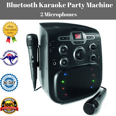 Bluetooth Karaoke Party Machine 2 Mics CD Player Boombox Disco Light Birthday