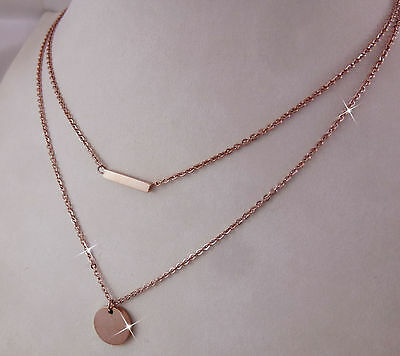 18k 18ct Rose Gold GF Disc and Bar Layered Multi Chain Necklace