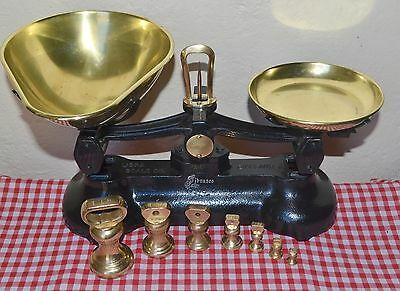 Vintage English Librasco Black Kitchen Scales 7 Brass Librasco Bell Weights