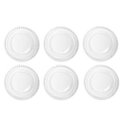 Set of 6 Bella Perle Clear Glass Small Dessert Side Plate Glassware Tableware