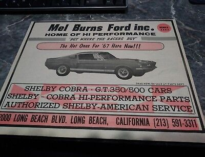 shelby ad mustang gt 350 500 rare carroll original ford photo poster 67 68 428