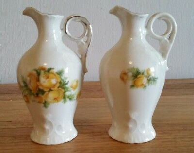 Pottery Pair of Miniature Water Pitchers Jugs Urns
