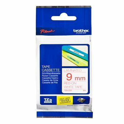 Brother P-Touch 9mm Red on White TZE222 Labelling Tape [BA8085]