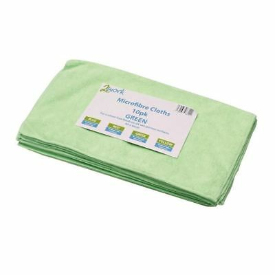 2Work Green 400x400mm Microfibre Cloth Pack of 10 101161GN [CNT01624]