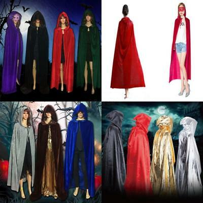 USA Halloween Hooded Cloak Wicca Robe Medieval Witchcraft Cape Cosplay Costume