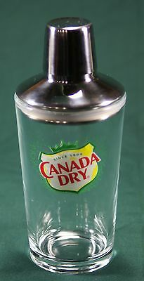 CANADA DRY DRINK SHAKER Glass & Stainless Steel Barware Cocktail Martini Bar NEW