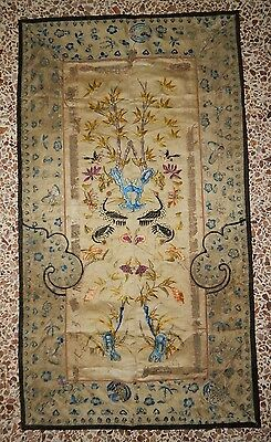 Antique Chinese Panel Wall Hanging Hand Embroidery Silk Art Textile (X229)