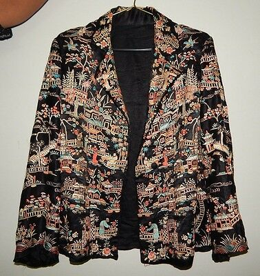 Vintage Chinese Embroidered Figure Floral Silk Jacket Robe Beautiful Work (X253)