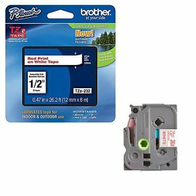 Brother P-Touch 12mm Red on White TZE232 Labelling Tape [BA8099]