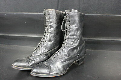Antique Victorian Ladies Black Leather Shoes