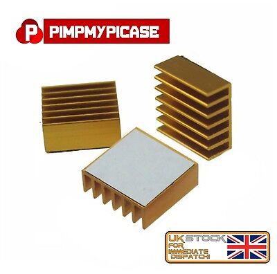 Premium Gold Heat-sink Cooler with 3M Thermal Adhesive Pads for Raspberry Pi
