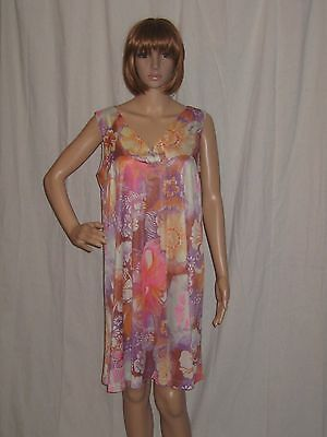 VTG 60s MOD night gown DRESS floral PSYCHEDELIC go go BABY DOLL large