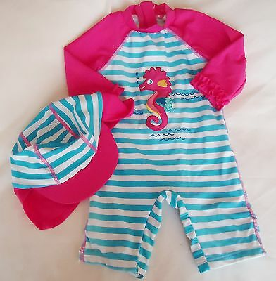 JOHN LEWIS BABY GIRLS SUNPRO & HAT SET BEACH SWIMWEAR 9-12 months EX CONDITION