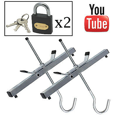 Heavy Duty Roof Rack Ladder Clamps with 2 x Padlocks - New