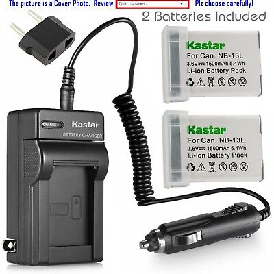 Kastar Battery and Normal Charger Kit for Canon NB-13L PowerShot G5X G7X G9X