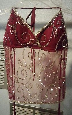 Maroon and Silver Beaded Belly Dance Bra Top open back tie closure beautiful