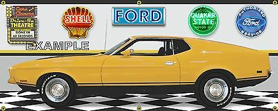 1973 Ford Mustang Mach 1 Yellow Gone In 60 Seconds Car Banner Sign Art 2' X 5'