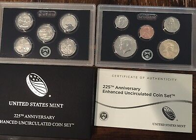 2017 225th Anniversary Enhanced Uncirculated Coin Set With Box /COA  In Stock