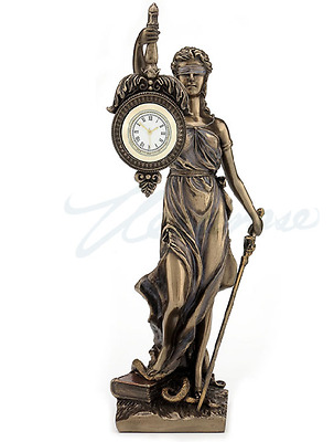 BLIND LADY JUSTICE CLOCK  Statue La Justica **Great Lawyer Attorney Gift**