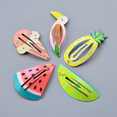 Funky Retro Metal Hair Slides Grips Pineapple Watermelon Parrot Ice Cream Lime