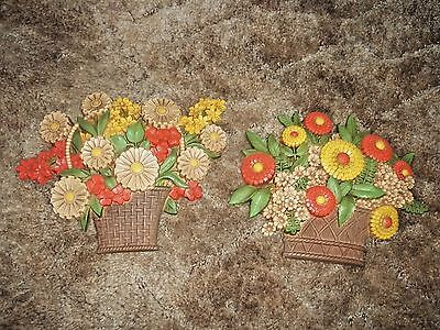 Set of 2 Vintage 1975 Syroco Wall Plaques Flowers in Pot Matching Set