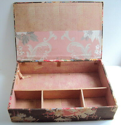 antique French Dressmaker Sewing Box ~ linen fabric covered plus compartments