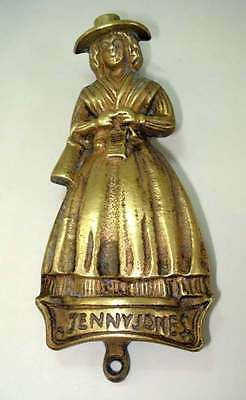 "Antique Rare Hand Made Solid Brass ""Jenny Jones"" Women Figurine DOOR KNOCKER"