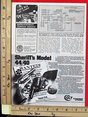1980 COLT 44/40 Sheriff's Model single action revolver Magazine Print Ad 9038