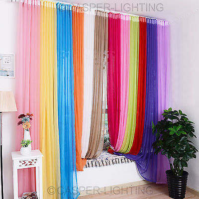 """Unversale Lucy Top Slot Voile Curtain Panel Polyester Drop Size 90""""/229CM"""