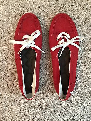 Reefs  Women's Shoes  Red Orange Lace Up Canvas Size 6.5