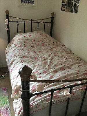 Cast iron Victorian double bed (small). Fantastic condition. Black/rose gold