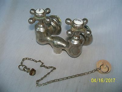 "Old Vintage CBC Nickle Brass Valve Off Claw Footed BathTub / 3 1/4"" Ctr. to Ctr."