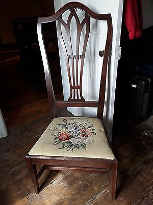 George III mahogany high-backed side chair with upholstered seat
