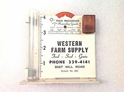 Vintage Rain Gauge Humidity Guide Advertising Agriculture Farm Seed Grain
