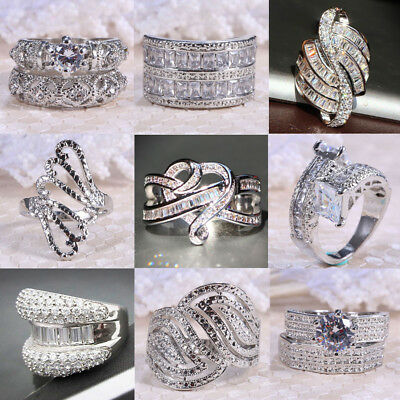 Women Men White Topaz 925 Silver Jewelry Wedding Engagement Ring Size 6-10