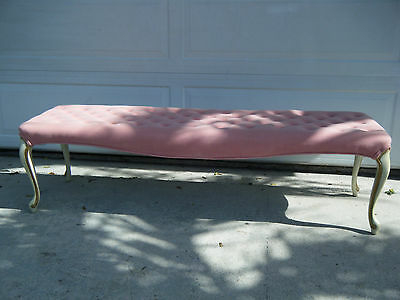 Vintage French Provincial Pink Tufted Bench