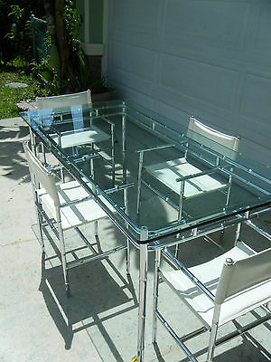 Vintage MCM Chrome Faux Bamboo Dining Table & 4 Chairs