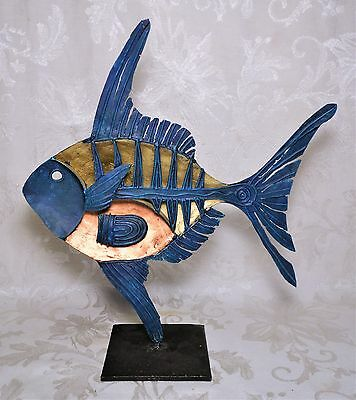 Vintage Mid Century Metal Abstract Fish Sculpture Statue Made in the Philippines