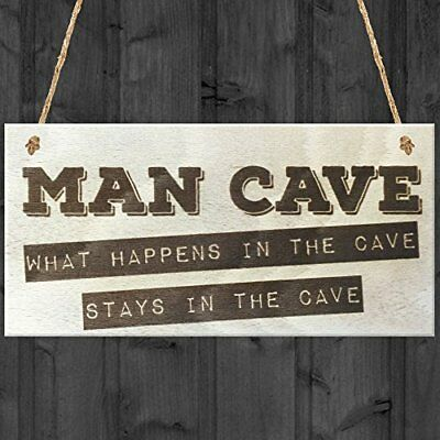 Red Ocean Man Cave What Happens In The Cave Stays In The Cave Novelty Wooden