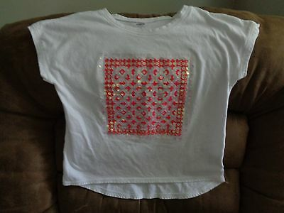 Girls Old Navy White Embellished Short Sleeve T-Shirt Size L (10-12)