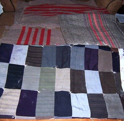Antique Quilt Top Suiting Antique Wool Blanket Lot Remnants As Is