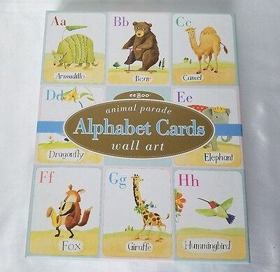 "eeBoo Animal Parade Alphabet Cards Wall Art 8""x10"" Full Set Decor Baby's Room"