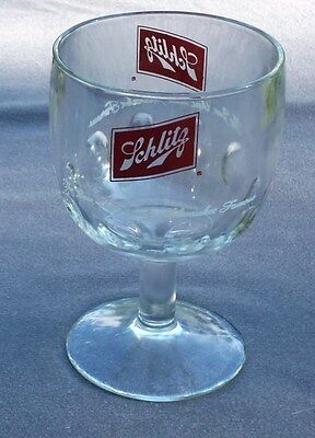 Vtg Collectible SCHLITZ BEER GOBLET. Beer that Made Milwaukee Famous. Thumbprint