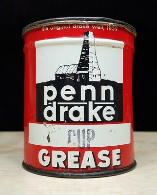 Vintage Penn Drake Cup Grease Tin Can ~ National Can - Pennsylvania Refining USA