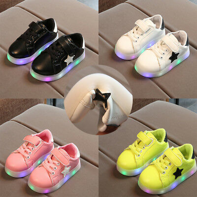 Kids Boys Girls LED Light Up Luminous Shoes Children Trainers Sport Sneakers