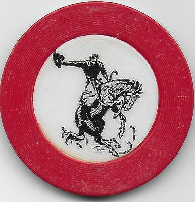 Nice Hard To Find Old Poker Chip-BRONCO RIDER (With Dust Cloud) PS-EW-Red Color